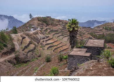 Farming fields and houses of peasants in the mountainous area of Corda, island of Santo Antao, Cape Verde