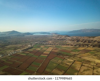 Farming fields and ocean in Albania