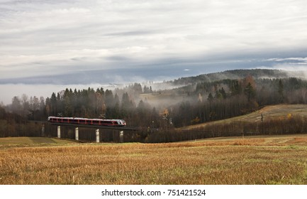 Farming land after harvesting at autumn, train passing, mist between trees at early morning.