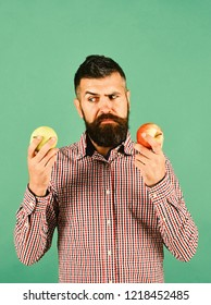 Farming and product choice concept. Guy presents homegrown harvest. Farmer with indecisive face holds different fresh fruit. Man with beard holds red and green apples isolated on green background