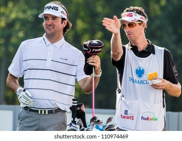 FARMINGDALE, NY - AUGUST 22: Bubba Watson prepares to hit a drive at Bethpage Black during the Barclays on August 22, 2012 in Farmingdale, NY.