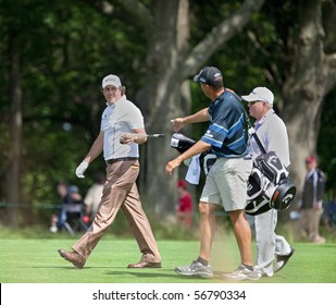 FARMINGDALE, NY - JUNE 17: Phil Mickelson with his caddy and instructor, Butch Harmon, during the 2009 US Open on June 17, 2009 in Farmingdale, NY.