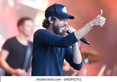 FARMINGVILLE, NY - JUL 3: Chris Janson performs in concert at The Fest at Long Island Community Hospital at Bald Hill on July 3, 2019 in Farmingville, New York.