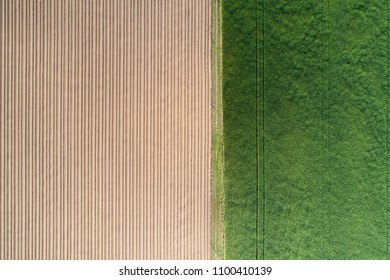Farmland from above. Green and brown agricultural fields drone view. Farm background.