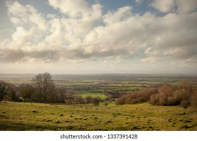 Farmland above Willersey, Cotswolds, Gloucestershire, England