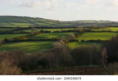 Farmland and fields on Exmoor near Lynton, Devon, England