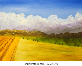 Farmland - original acrylic painting, painted on farmland in Idaho. I'm the author of this painting.