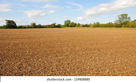 Farmland View of a Ploughed Field in Autumn