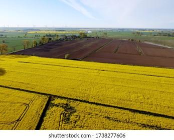 Bauernland in Zulawy Wislane in der Frühjahrssaison, Polen