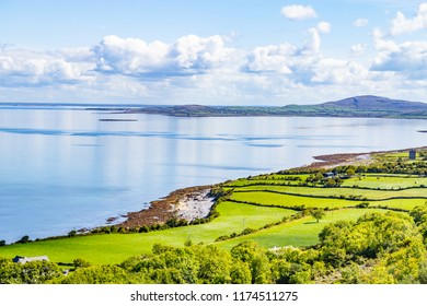 Farms and beach in Ballyvaughan, Clare, Ireland