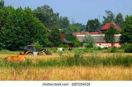 Farms, the countryside of eastern Poland.
