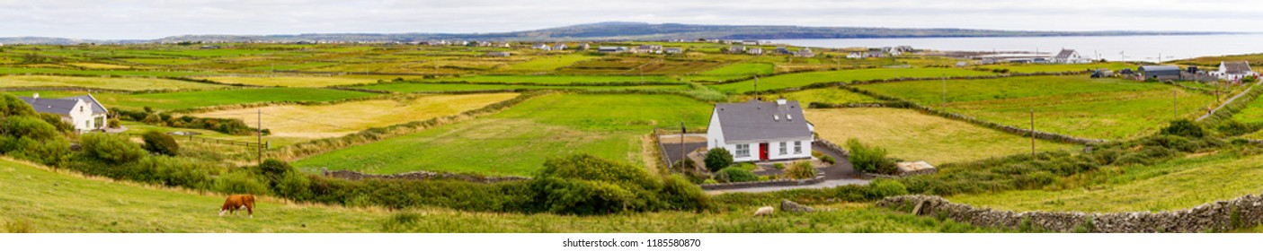Farms with meadow and Liscannor village in background, Liscannor, Clare, Ireland