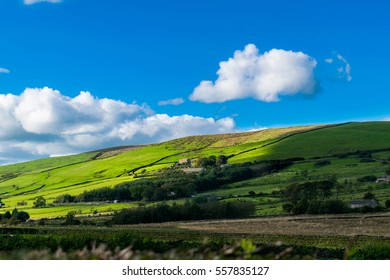 Farms on the hill on English countryside, Forest Of Bowland, England UK