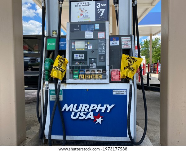 Farmville, Virginia, USA, May 13, 2021: Gas stations are still dry in the southeast when the Colonial pipeline service has resumed following a ransomeware attack.