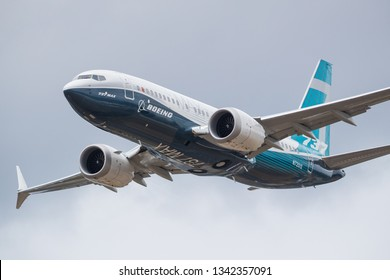 Farnborough, UK - 07 18 2018: Flying display of a Boeing B737-8 MAX at the Farnborough International Airshow, UK