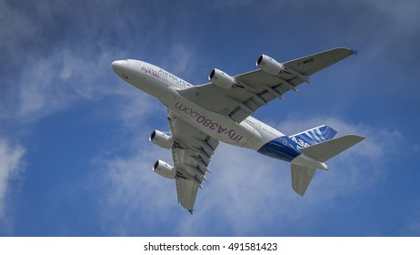 Farnborough, UK - 16th July 2016: A display Airbus A380 in flight