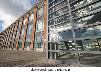Farnborough UK, January 2019. The Hub, serviced offices in a renovated art deco style building on Farnborough Business Park, Hampshire UK. The building was once used as an airport departure lounge.