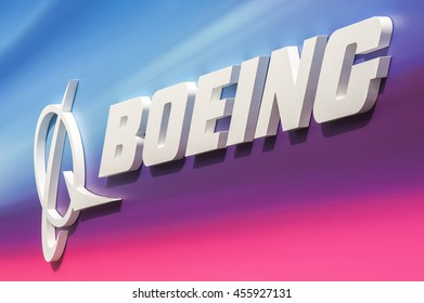 FARNBOROUGH, UK - JULY 15: 3D Boeing exhibition billboard celebrating 100 years of business at an aviation trade event in Farnborough, UK on July 15, 2016