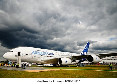 FARNBOROUGH, UK - JULY 15: Airbus A380 on ground displayed for public at the Farnborough airshow. July 15 2012, Farnborough, Hampshire, UK.