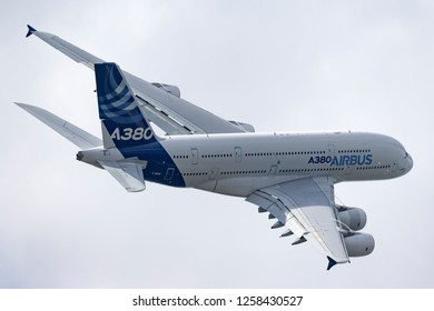 Farnborough, UK - July 16, 2014: Airbus A380-841 large four engined commercial airliner aircraft F-WWOW.