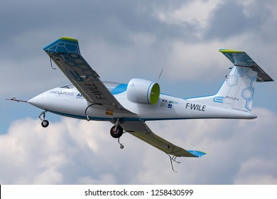 Farnborough, UK - July 16, 2014: The Airbus E-Fan is a prototype electric aircraft being developed by Airbus Group.