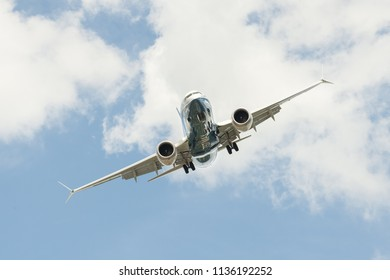 FARNBOROUGH, UK - JULY 16: Boeing 737 MAX on a steep angled landing descent to Farnborough, UK on July 16, 2018