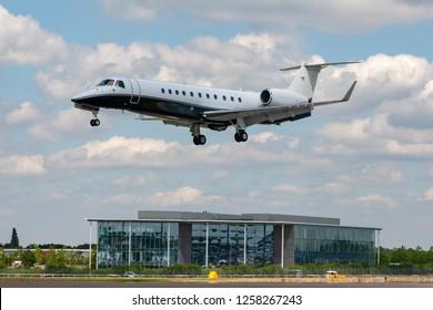 Farnborough, UK - July 17, 2014: Embraer Legacy 600 (EMB-135BJ) luxury business jet G-RHMS.