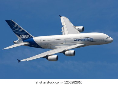 Farnborough, UK - July 18, 2014: Airbus A380-841 large four engined commercial airliner aircraft F-WWOW.