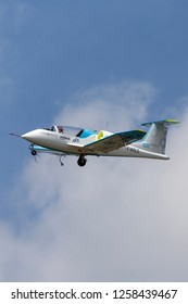 Farnborough, UK - July 18, 2014: The Airbus E-Fan is a prototype electric aircraft being developed by Airbus Group.