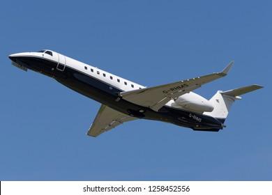 Farnborough, UK - July 18, 2014: Embraer Legacy 600 (EMB-135BJ) luxury business jet G-RHMS.