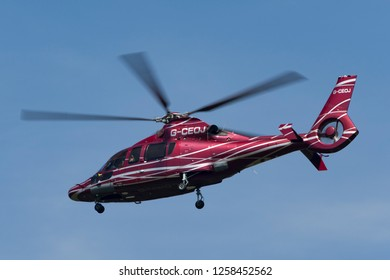 Farnborough, UK - July 18, 2014: Eurocopter EC-155B Helicopter G-CEOJ.