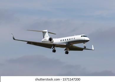 Farnborough, UK - July 18, 2014:  Gulfstream Aerospace G550 G-NOYA luxury business jet aircraft.
