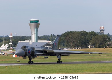 Farnborough, UK - July 19, 2014: Former Royal Air Force (RAF) Avro Vulcan B.2 bomber aircraft XH558 operated by the Vulcan to the Sky Trust.