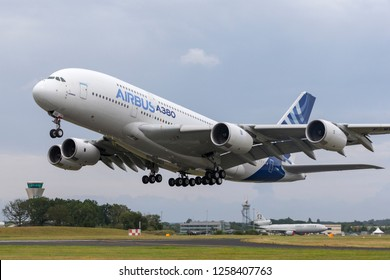 Farnborough, UK - July 19, 2014: Airbus A380-841 large four engined commercial airliner aircraft F-WWOW.