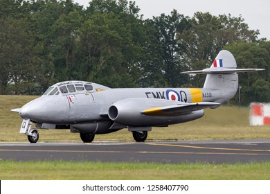 Farnborough, UK - July 19, 2014: Former Royal Air Force Gloster Meteor T7 vintage jet warbird G-BWMF.