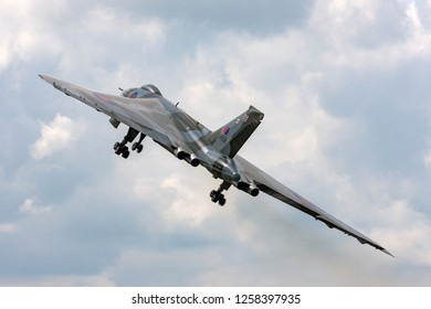 Farnborough, UK - July 20, 2014: Former Royal Air Force (RAF) Avro Vulcan B.2 bomber aircraft XH558 operated by the Vulcan to the Sky Trust.