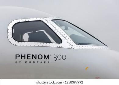 Farnborough, UK - July 20, 2014: Embraer Phenom 300 Business jet aircraft.