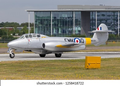 Farnborough, UK - July 20, 2014: Former Royal Air Force Gloster Meteor T7 vintage jet warbird G-BWMF.