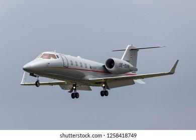 Farnborough, UK - July 20, 2014: VistaJet Learjet 60 OE-GVN small business jet.
