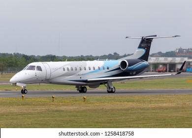 Farnborough, UK - July 20, 2014: Embraer EMB-135BJ Legacy 600 OE-IBK at Farnborough Airport.