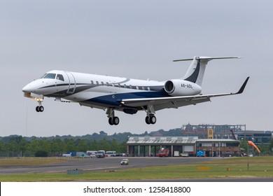 Farnborough, UK - July 20, 2014: Embraer Legacy 600 (EMB-135BJ) corporate jet A6-ADL.