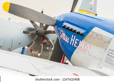 FARNBOROUGH, UK - JULY 20: Closeup of Miss Helen, a vintage P-51 Mustang warbird on display at an aviation trade event in Farnborough, UK on July 20, 2018