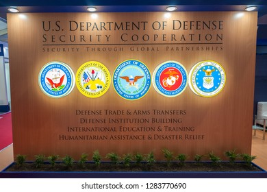 FARNBOROUGH, UK - JULY 20: Office partition wall for the US Department of Defense with combined military emblems at a trade event in Farnborough, UK on July 20, 2018