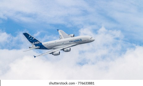 Farnborough, UK - July 2014 - Airbus A380 displaying at the Farnborough International Airshow
