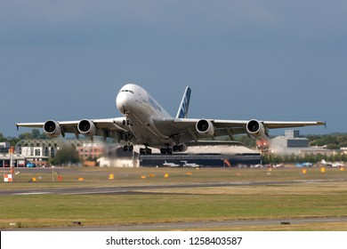Farnborough, UK - July 21, 2014: Airbus A380-841 large four engined commercial airliner aircraft F-WWOW.