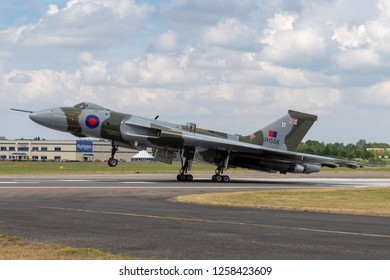 Farnborough, UK - July 21, 2014: Former Royal Air Force (RAF) Avro Vulcan B.2 bomber aircraft XH558 operated by the Vulcan to the Sky Trust.