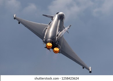 Farnborough, UK - July 21, 2014: Royal Air Force (RAF) Eurofighter EF-2000 Typhoon FGR4 ZK343 from No.29(R) Squadron based at RAF Coningsby.