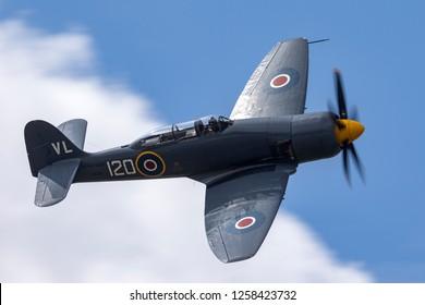Farnborough, UK - July 21, 2014: Hawker Sea Fury T.20 G-RNHF of the Royal Navy Fleet Air Arm Historic Flight based at RNAS Yeovilton.