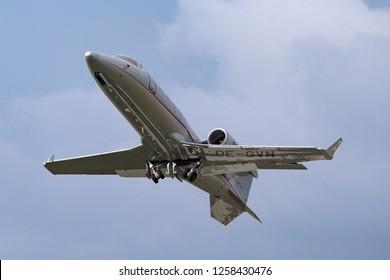 Farnborough, UK - July 21, 2014: VistaJet Learjet 60 OE-GVN small business jet.