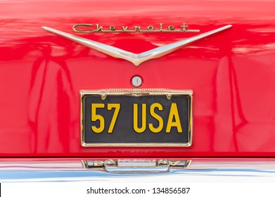 FARNBOROUGH, UK - MARCH 29: Unique Chevrolet vehicle licence plate, circa 1957 on display at the annual Wheels Day auto and bike show on March 29, 2013 in Farnborough, UK